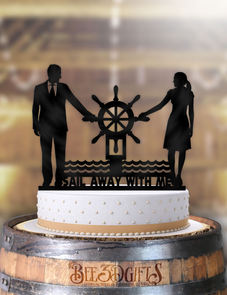 Nautical Couple Sail Away With Me Cake Topper - Bee3dgifts