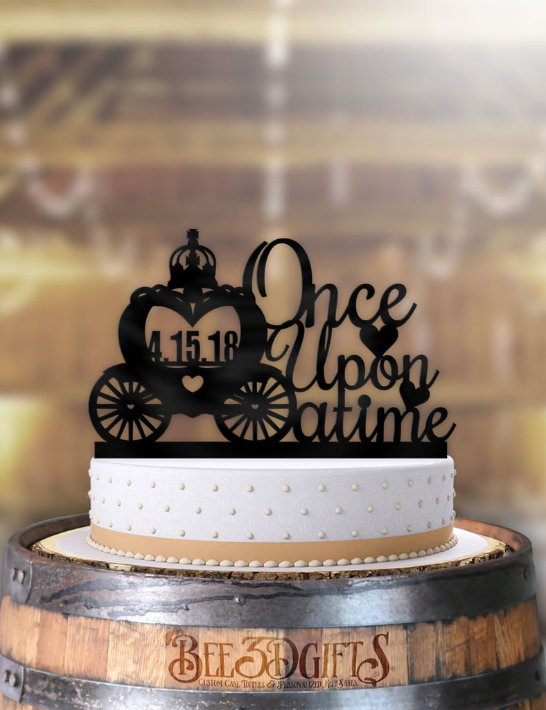 Once Upon A Time Carriage with Date Cake Topper - Bee3dgifts