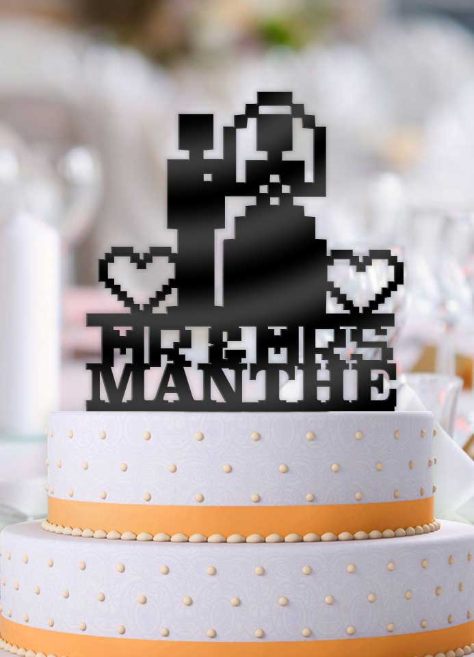 Personalized 8 Bit Couple Mr Mrs Wedding Cake Topper - Bee3dgifts