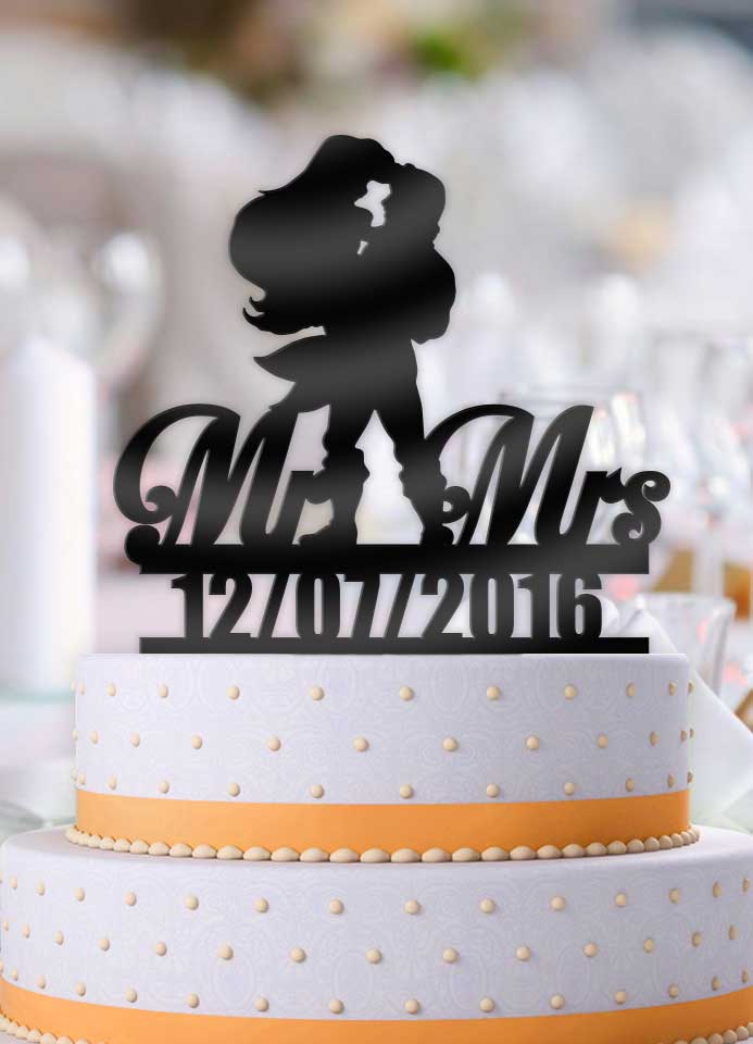 Personalized Eric Holding Ariel Mr Mrs with Date Wedding Cake Topper - Bee3dgifts