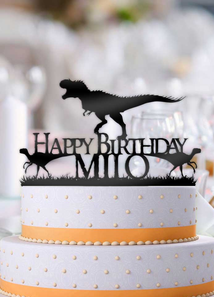Personalized Dinosaurs T Rex Birthday Cake Topper