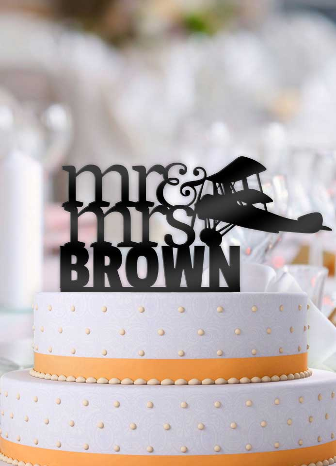 Personalized Airplane with Name Wedding Cake Topper