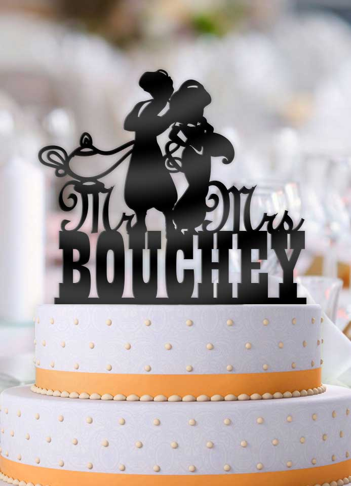Personalized Aladdin and Jasmine with Lamp Mr Mrs Wedding Cake Topper