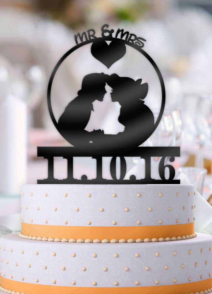 Personalized Ariel and Eric Boat Scene Mr Mrs with Date Wedding Cake Topper - Bee3dgifts