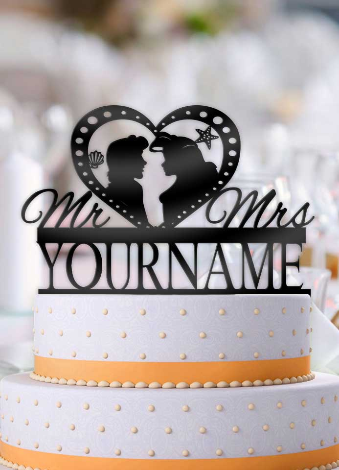 Personalized Ariel and Eric Profile Wedding Cake Topper – Bee3dgifts