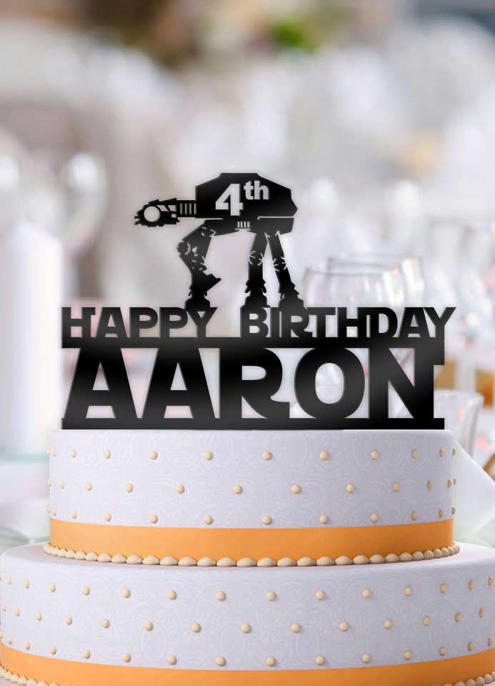 Personalized Star Wars ATAT Imperial Walker Happy Birthday with Age and Name Birthday Cake Topper - Bee3dgifts