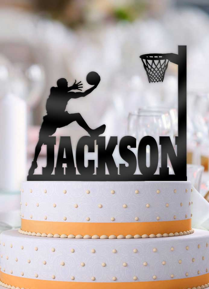 Personalized Basketball Male Alley-oop Birthday Cake Topper