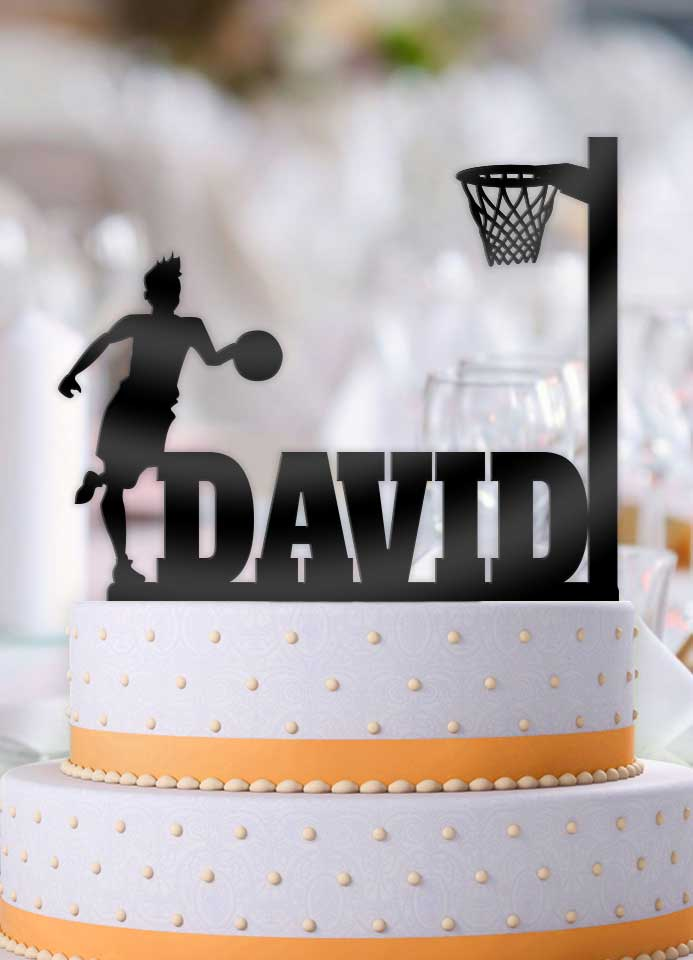 Personalized Basketball Male Dribble Birthday Cake Topper - Bee3dgifts