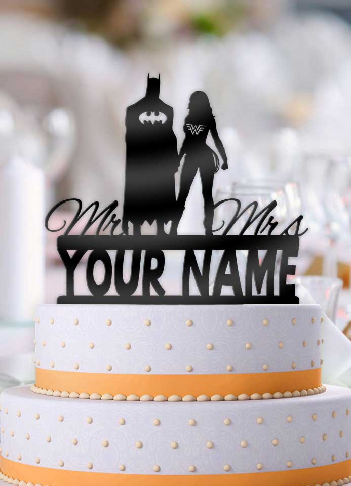 Personalized Batman and Wonder Woman with Name Cake Topper - Bee3dgifts