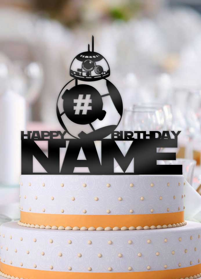 Personalized Star Wars BB-8 Happy Birthday with Age Birthday Cake Topper - Bee3dgifts