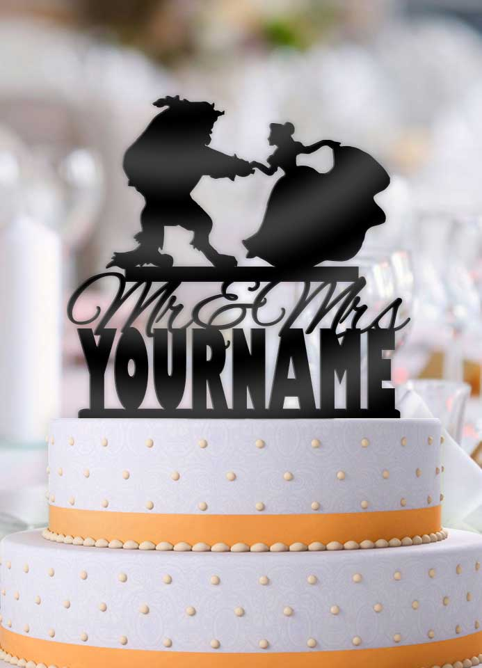 Personalized Beauty and the Beast Dance Curtsey with Rose Mr Mrs with Name Wedding Cake Topper - Bee3dgifts