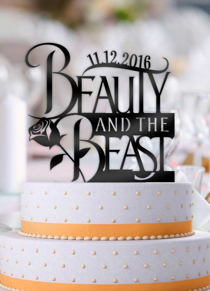 Personalized Beauty and the Beast Logo with Date Wedding Cake Topper - Bee3dgifts
