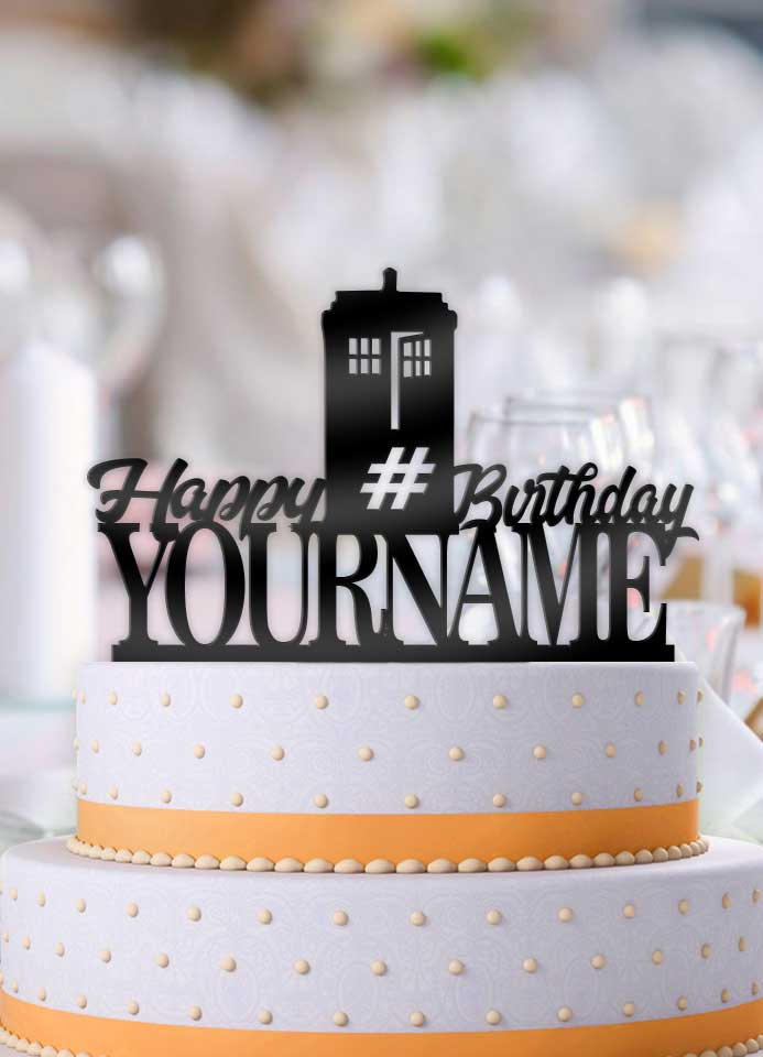 Personalized Doctor Who Tardis Happy Birthday With Age And Name Cake Topper