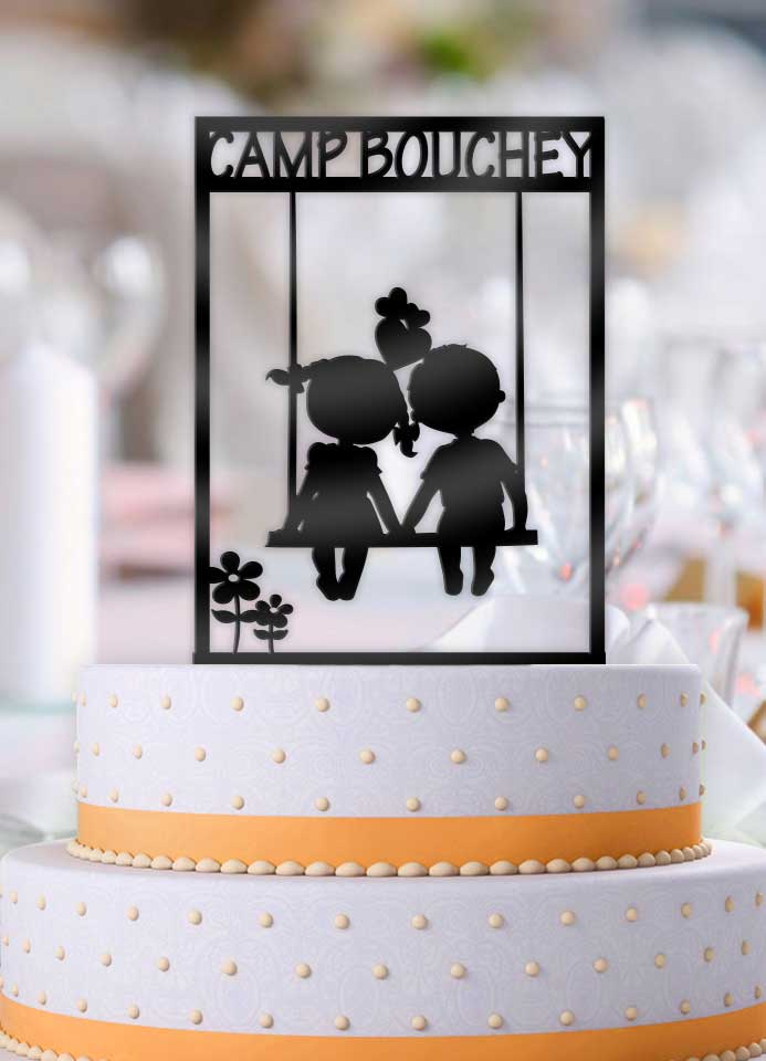 Personalized Camp Name Cute Kids Couple Cake Topper - Bee3dgifts