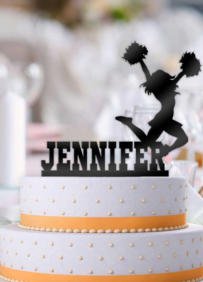 Personalized Female Cheerleader Birthday Cake Topper Bee3dgifts