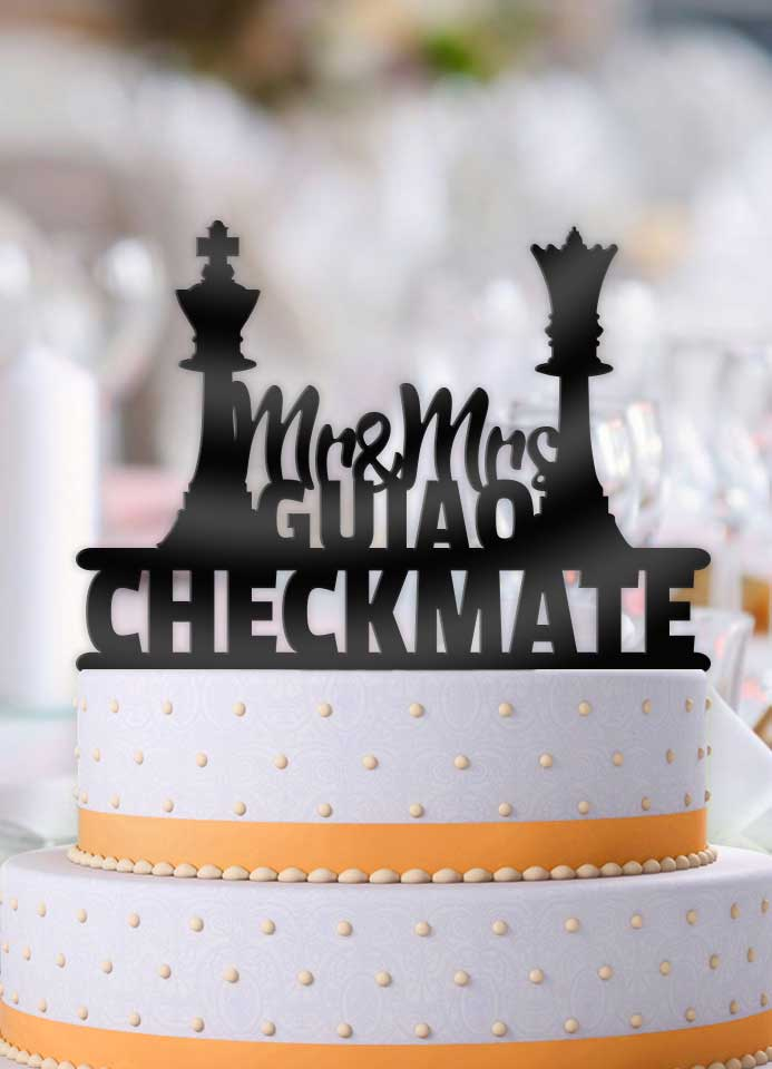 Personalized Checkmate Chess Pieces Mr Mrs with Name Wedding Cake Topper - Bee3dgifts