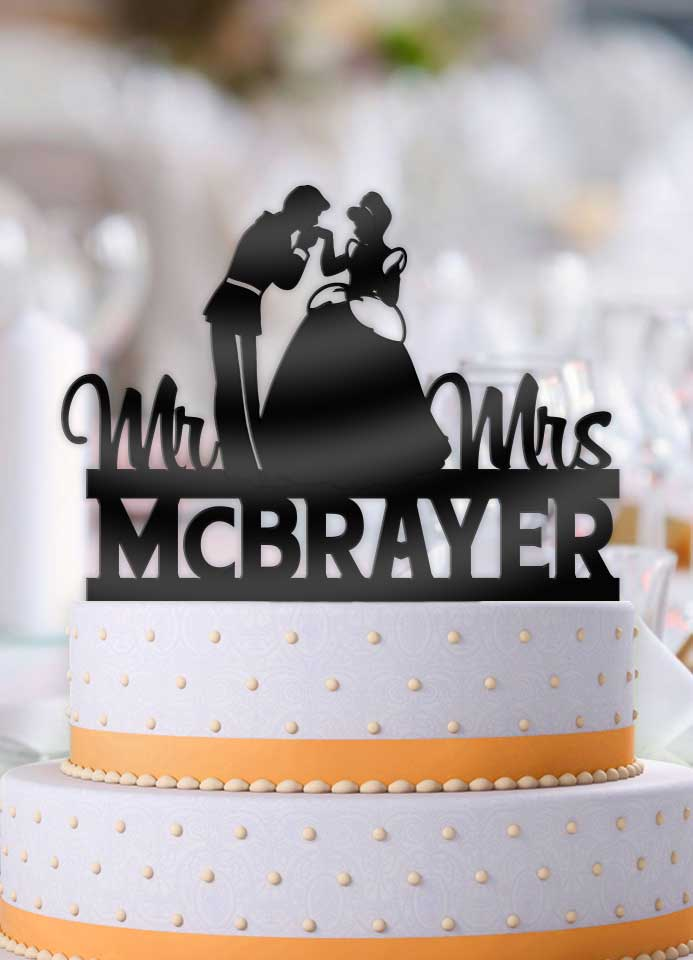 Personalized Prince Charming Kissing Cinderella with Name Wedding Cake Topper - Bee3dgifts