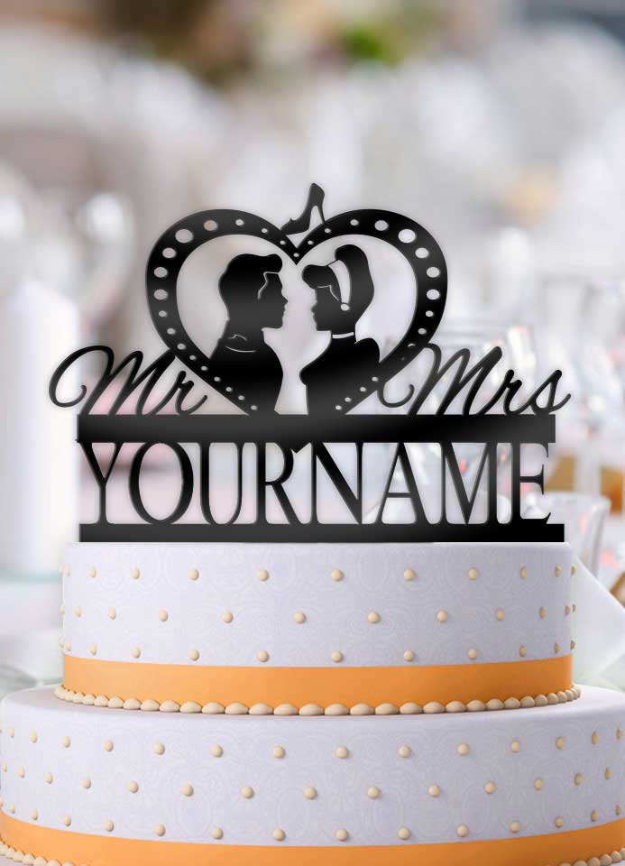 Personalized Cinderella and Prince Charming Profile Wedding Cake Topper - Bee3dgifts