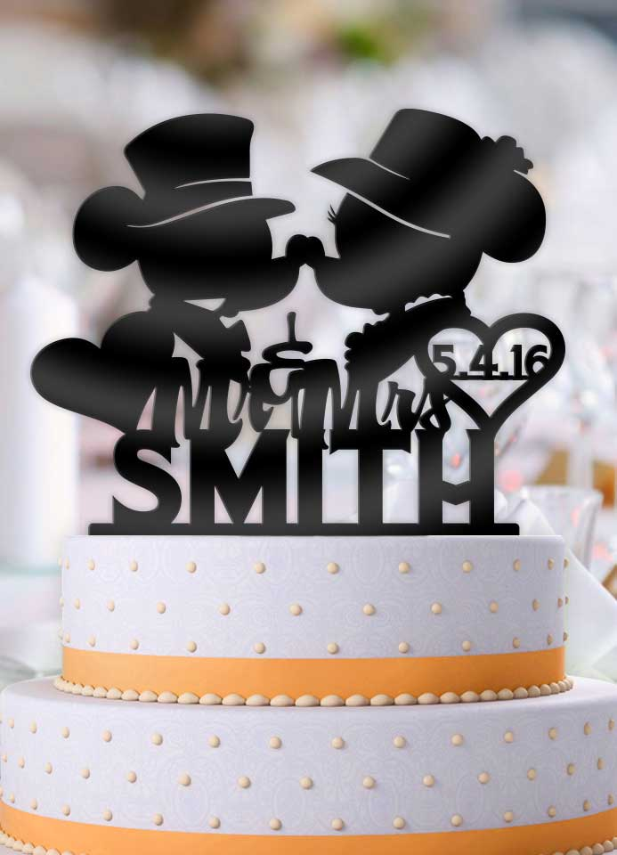 Personalized Classy Mickey and Minnie Kiss Heart with Name and Date Wedding Cake Topper - Bee3dgifts