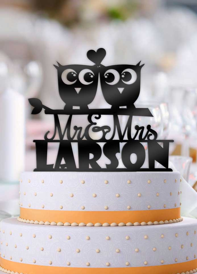 Personalized Cute Owls with Name Wedding Cake Topper - Bee3dgifts