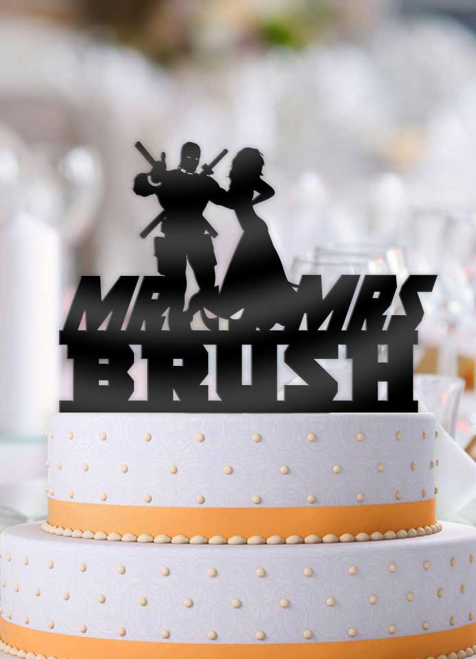 Personalized Deadpool and Bride with Name Wedding Cake Topper - Bee3dgifts