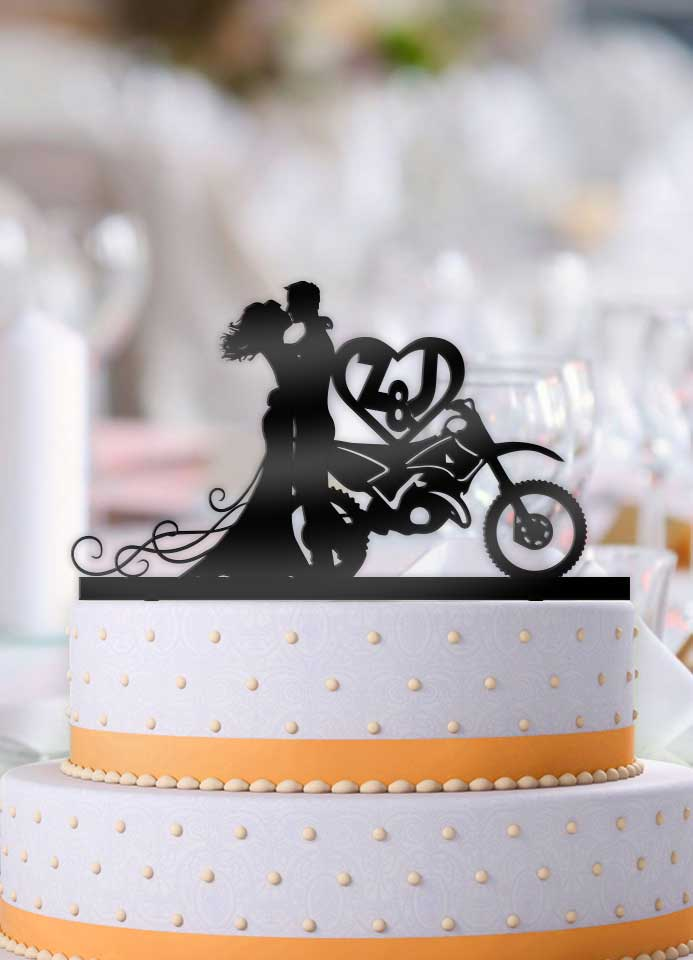 Personalized Dirt Bike Couple with Initials Wedding Cake Topper ...
