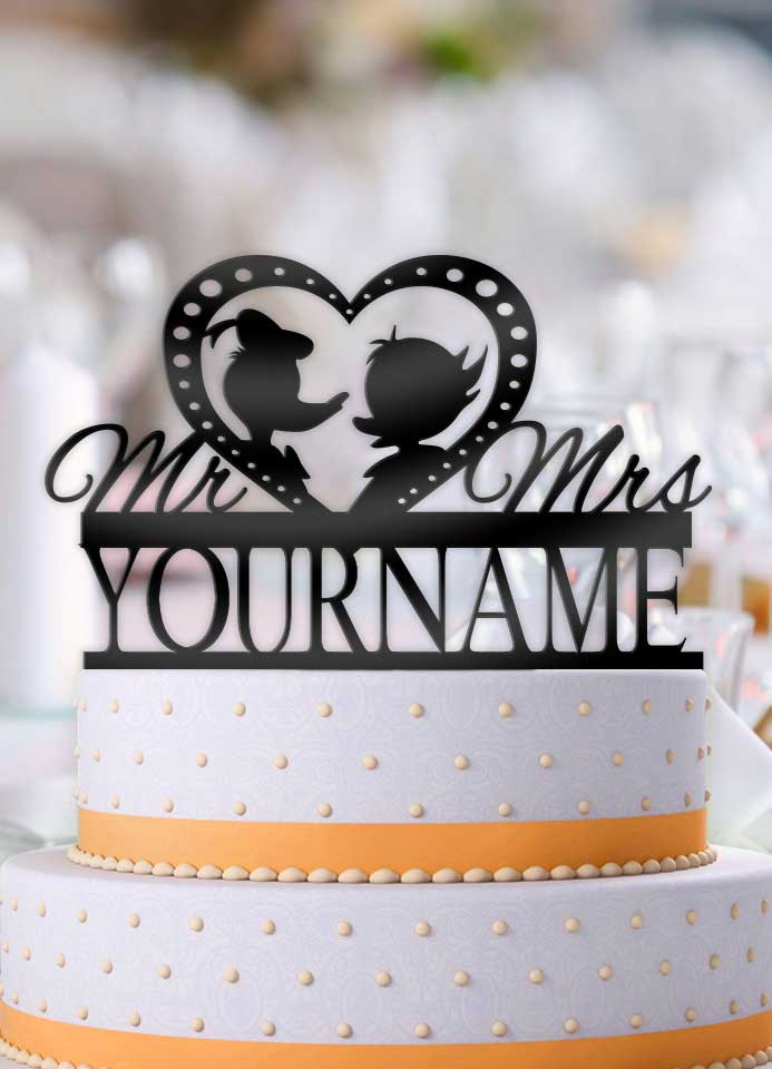 Personalized Donald and Daisy Profile Wedding Cake Topper - Bee3dgifts