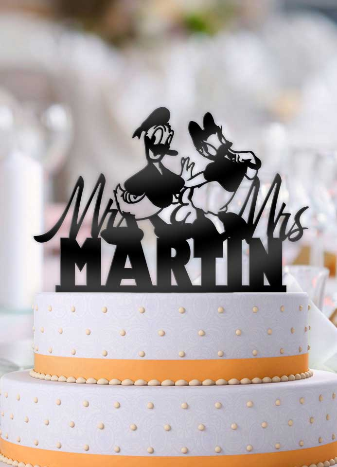 Personalized Donald and Daisy Mr Mrs with Name Wedding Cake Topper - Bee3dgifts