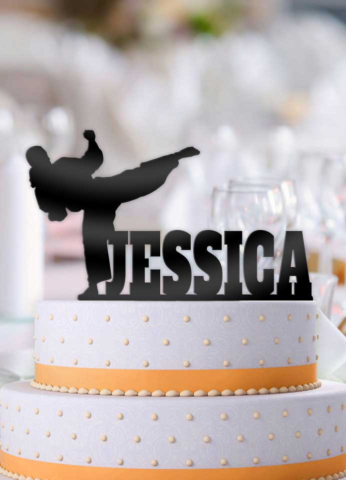Personalized Female Martial Arts Birthday Cake Topper