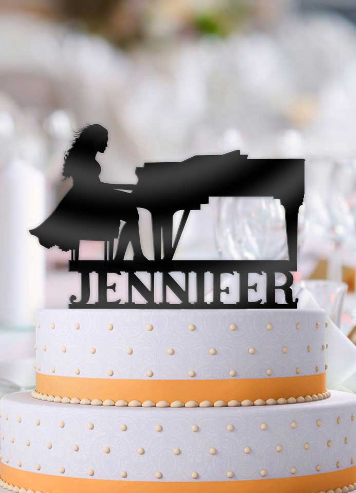 Personalized Female Pianist Birthday Cake Topper - Bee3dgifts