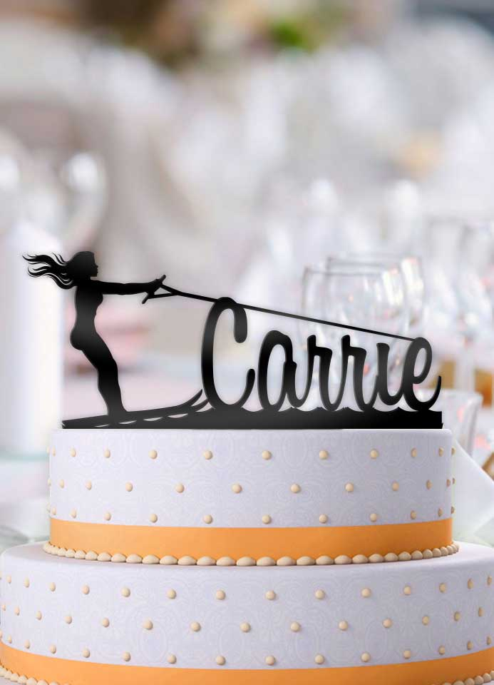 Personalized Water Skiing Female Birthday Cake Topper