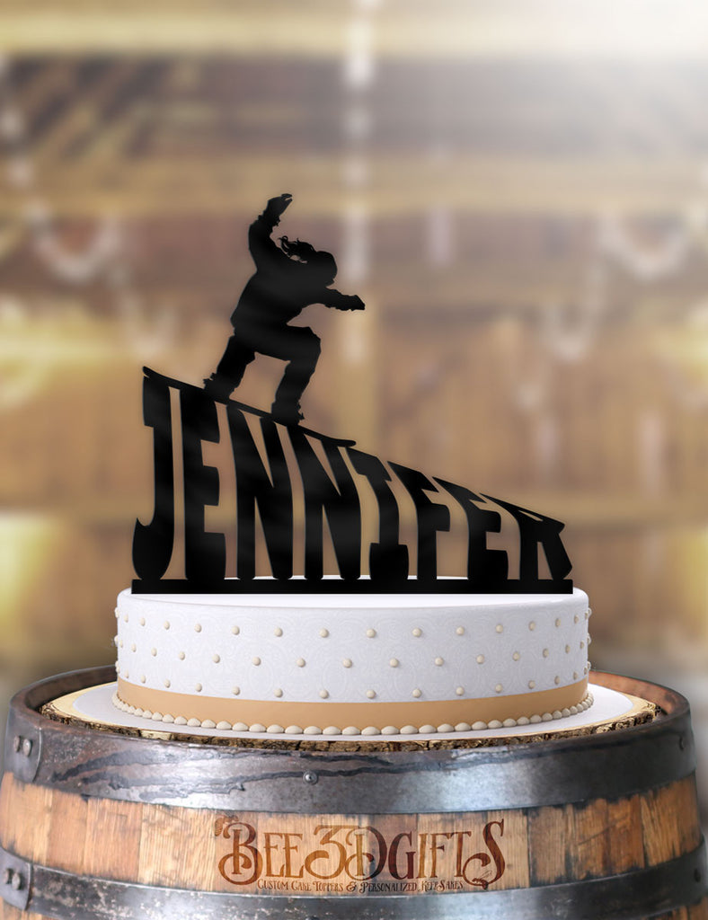 Personalized Snowboarder Female Birthday Cake Topper - Bee3dgifts