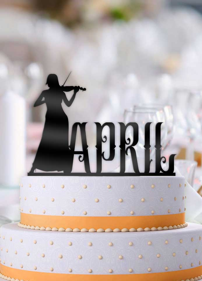 Personalized Female Violin Birthday Cake Topper - Bee3dgifts