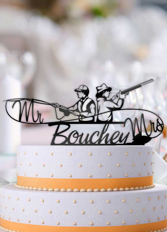 Personalized Fishing Hunting Couple with Name Wedding Cake Topper - Bee3dgifts