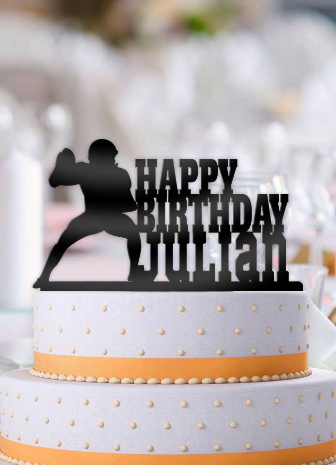 Personalized Football Male QB Pass Birthday Cake Topper - Bee3dgifts