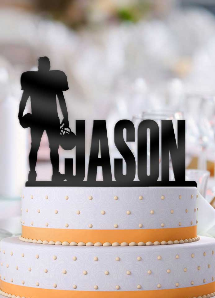Personalized Football Male Standing Birthday Cake Topper - Bee3dgifts