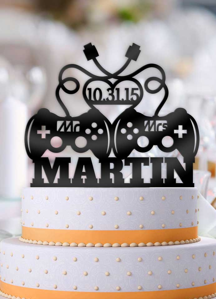 Personalized Game Controllers Mr Mrs with Name and Date Wedding Cake Topper