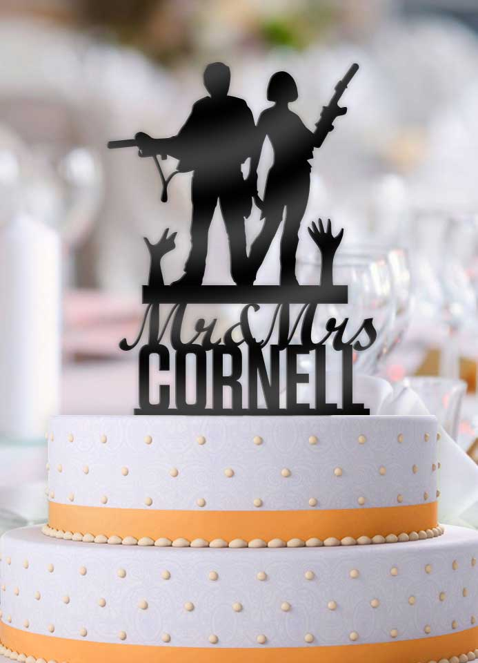 Personalized Glen And Maggie Zombie Apocalypse With Name Wedding Cake