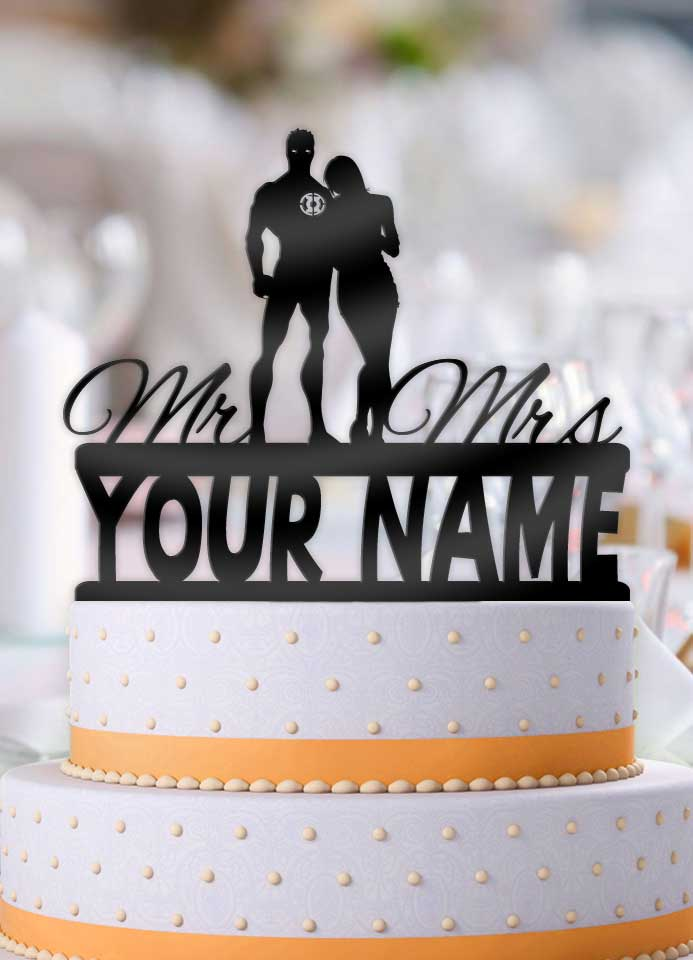 Personalized Green Lantern and Bride with Name Wedding Cake Topper