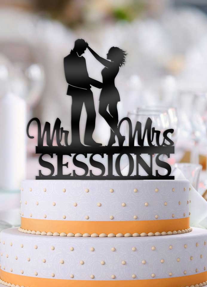 Personalized Millennial Couple Tussle with Name Wedding Cake Topper - Bee3dgifts