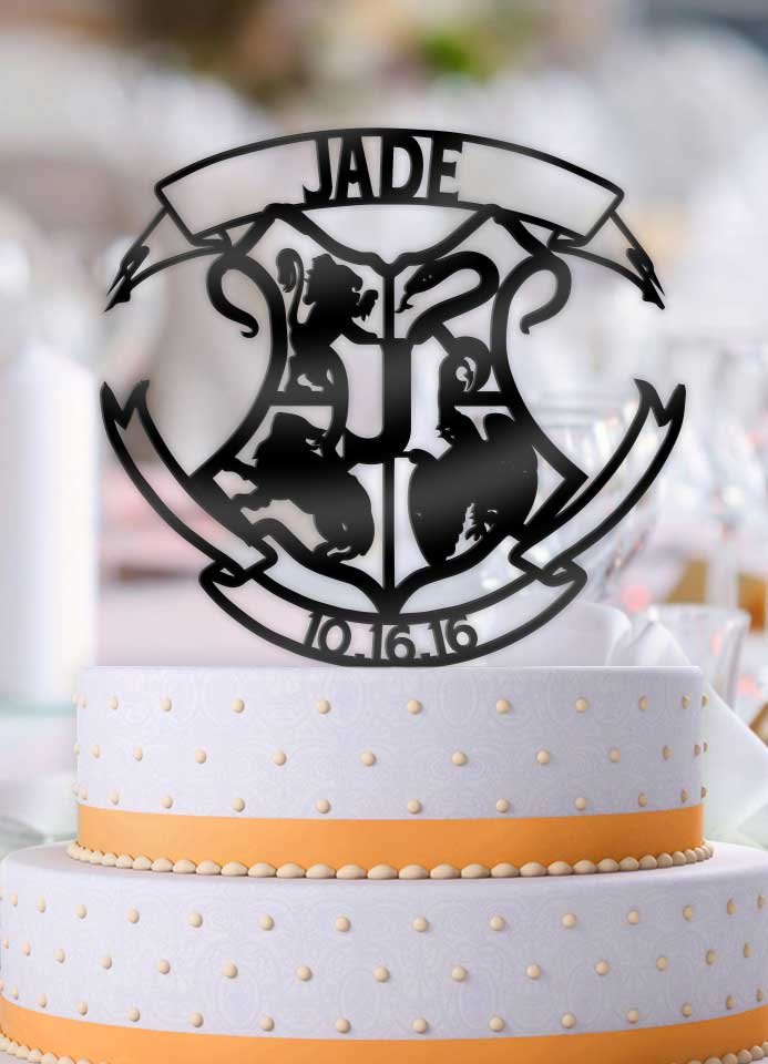 Personalized Harry Potter Hogwarts Crest with Name, Initial, and Date Wedding Cake Topper - Bee3dgifts