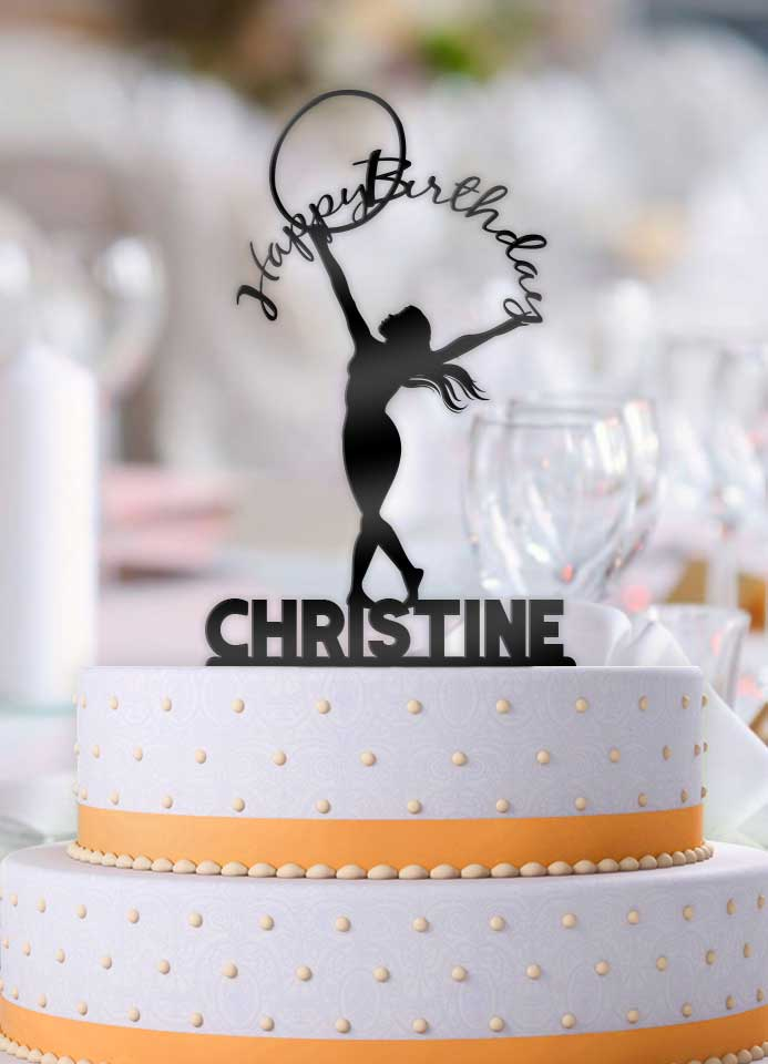 Personalized Female Hula Hoop Ribbon Happy Birthday Cake Topper - Bee3dgifts