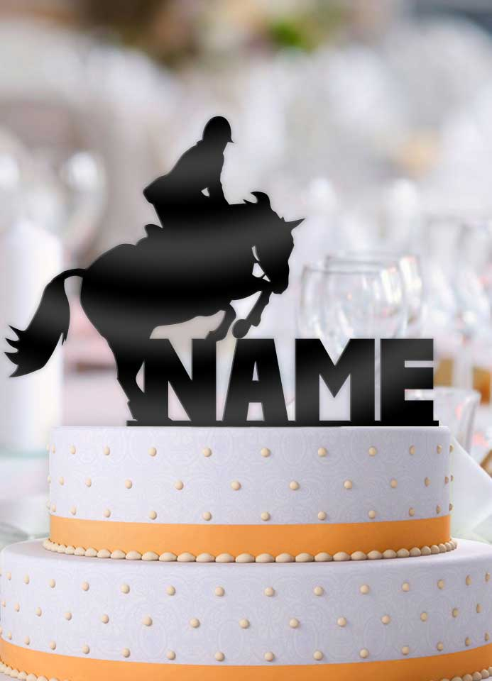 Personalized Equestrian Horse Jump Birthday Cake Topper