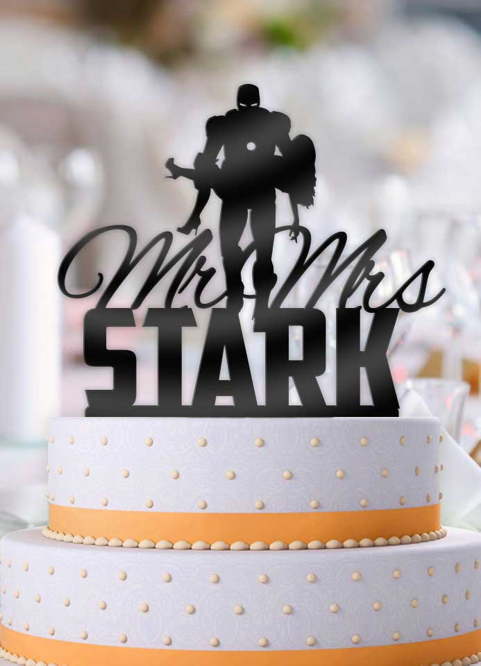 Personalized Iron Man holding Bride with Name Wedding Cake Topper - Bee3dgifts
