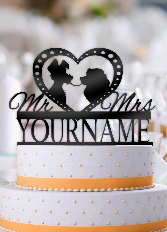 Personalized Lady and the Tramp Profile Wedding Cake Topper - Bee3dgifts