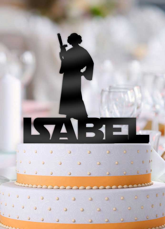 Personalized Star Wars Leia with Name Birthday Cake Topper - Bee3dgifts