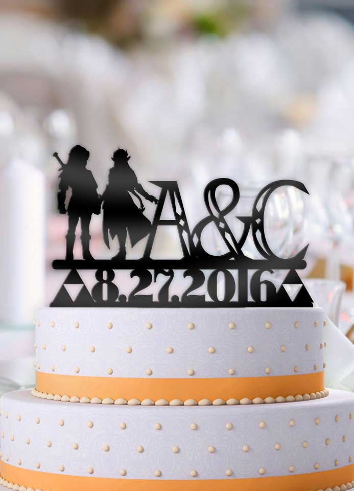 Personalized Link and Zelda with Initials and Date Cake Topper - Bee3dgifts