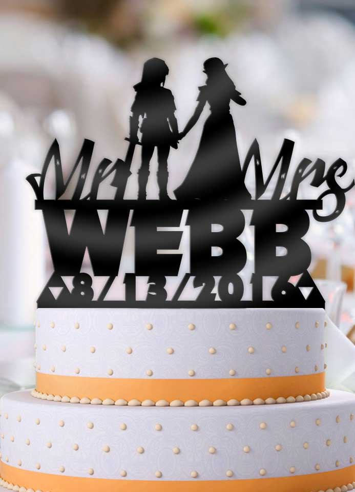 Personalized Link and Zelda Holding Hands with Name and Date Wedding Cake Topper - Bee3dgifts