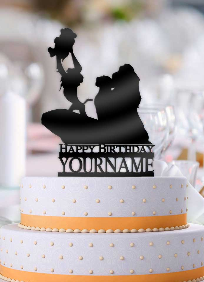 Personalized Disney Lion King with Name Happy Birthday Cake Topper - Bee3dgifts