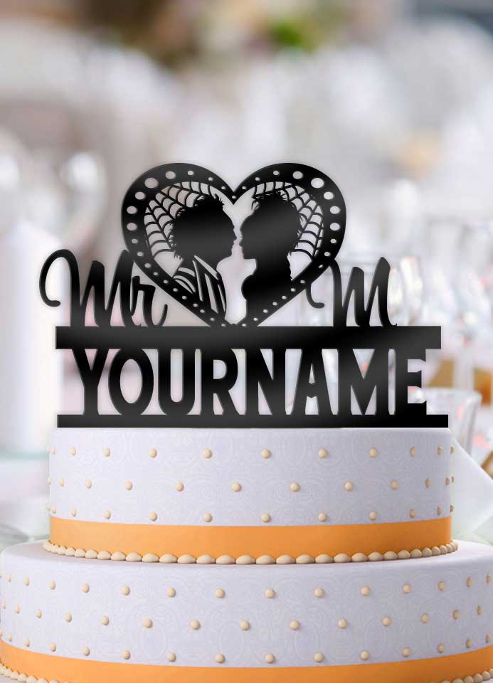 Personalized Beetlejuice and Lydia Profile Wedding Cake Topper - Bee3dgifts
